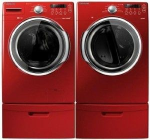 Samsung Front Loading Washer And Dryer In Red Clothes Washing