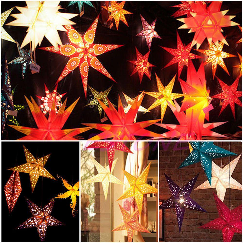 Details About 60cm Pentagram Lampshade Paper Star Lantern Hanging