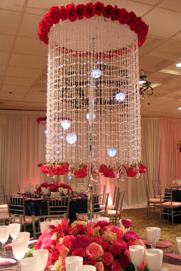 Crystal Rose Chandelier Ceiling Decor Wedding Table Decorations Wedding Table Centerpieces