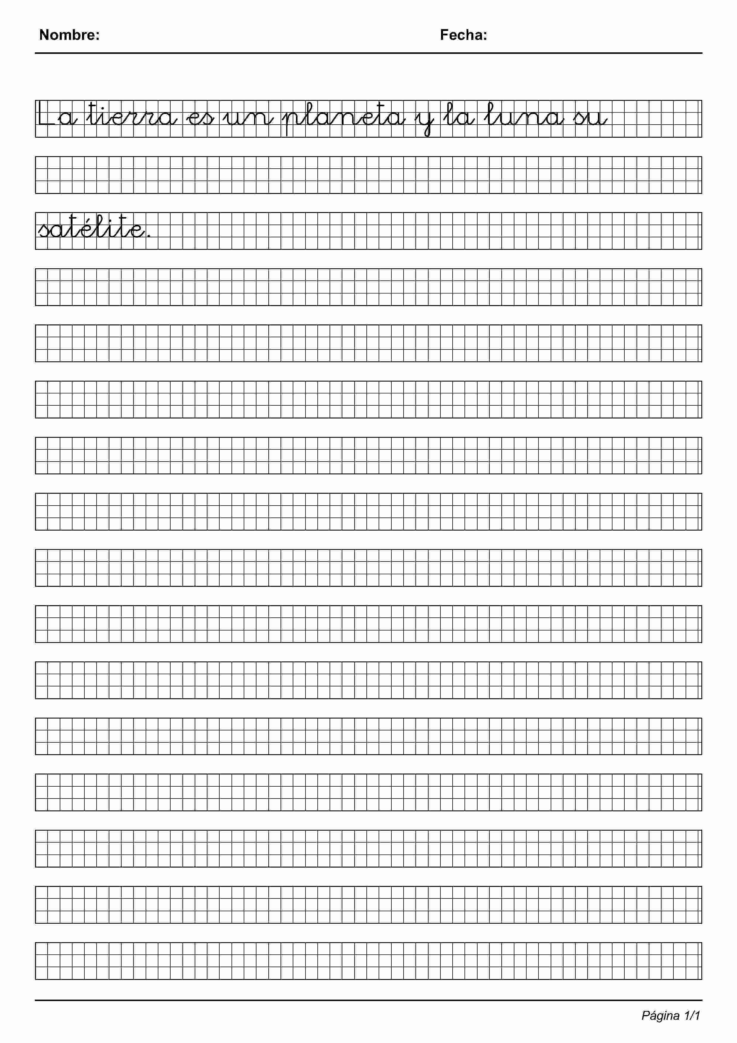 Actividades para niños preescolar, primaria e inicial. Imprimir fichas de caligrafia en cuadricula para niños de preescolar y primaria. Caligrafia en Cuadricula. 28