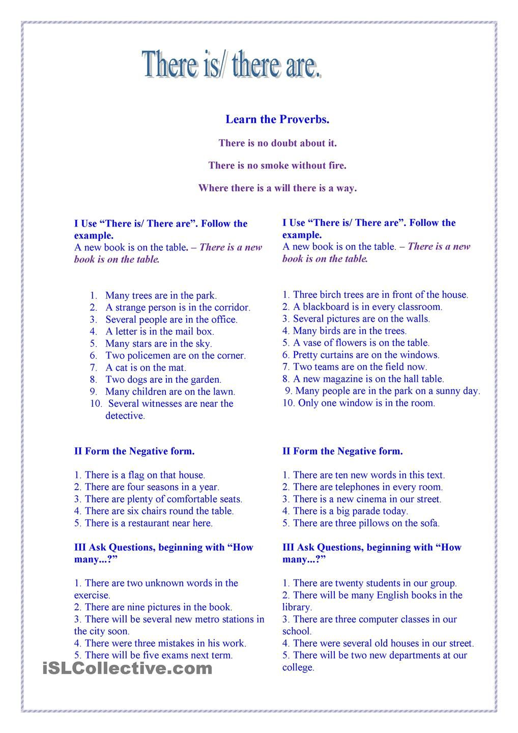 There is/ there are. Grammar worksheets, Learn english