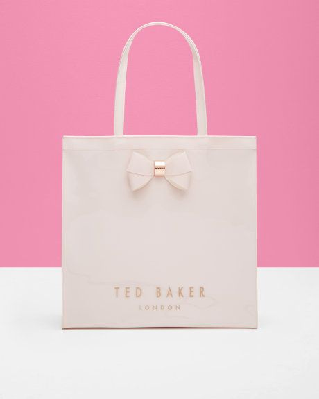 Bow detail large shopper bag - Baby Pink  1fe57a3dd