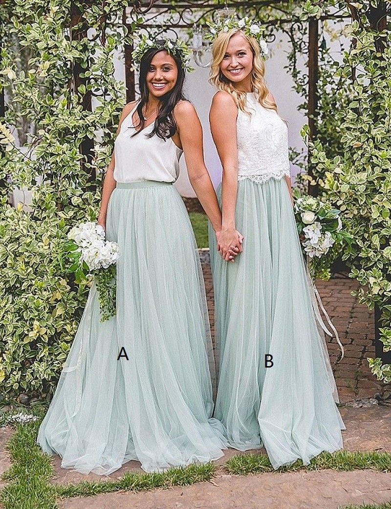 Simple A-line Mint Bridesmaid Dress - Scoop Floor Length Pleats ...
