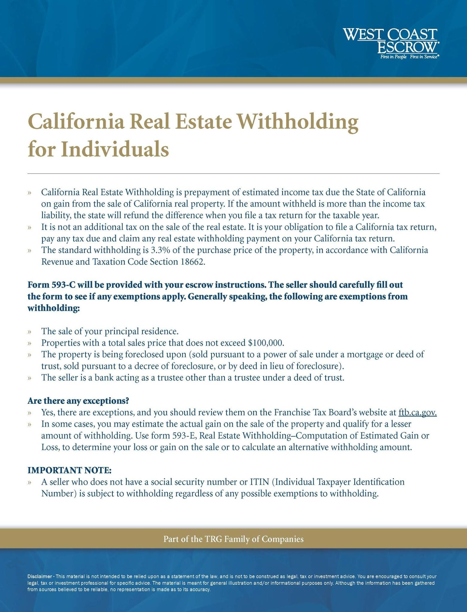 California Real Estate Withholding For Individuals For More Informational Flyers Please Visi California Real Estate Real Estate Information Home Selling Tips