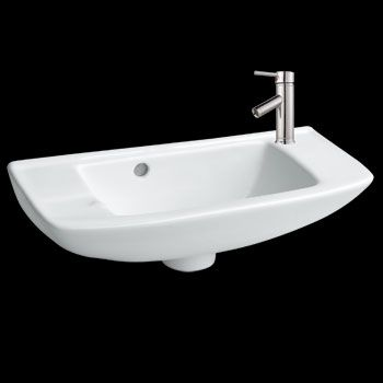 Web Image Gallery Bathroom Wall Mount Small Vessel Sink With Overflow Hole and Single Faucet Hole