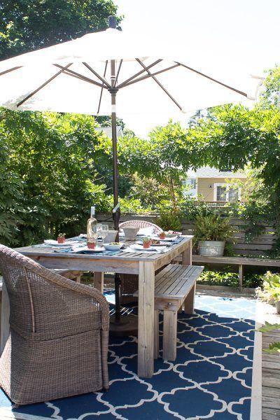 Succulent And Shibori Tablescape Houzz Feature Patio Summer Decor Outdoor Furniture Sets