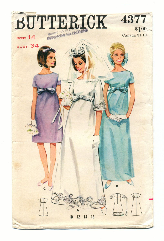 Empire waist bridal dress vintage s sewing pattern bridesmaid