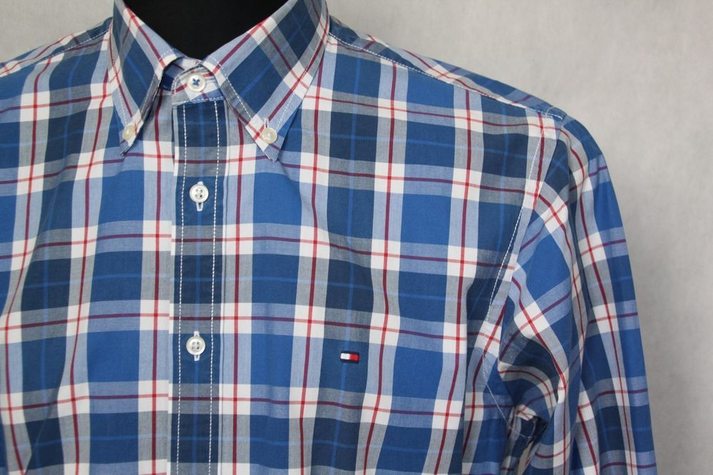 e3abde23 MEN'S TOMMY HILFIGER CUSTOM FIT 100% COTTON CHECK SHIRT BLUE sz M MEDIUM # TommyHilfiger #CasualShirts