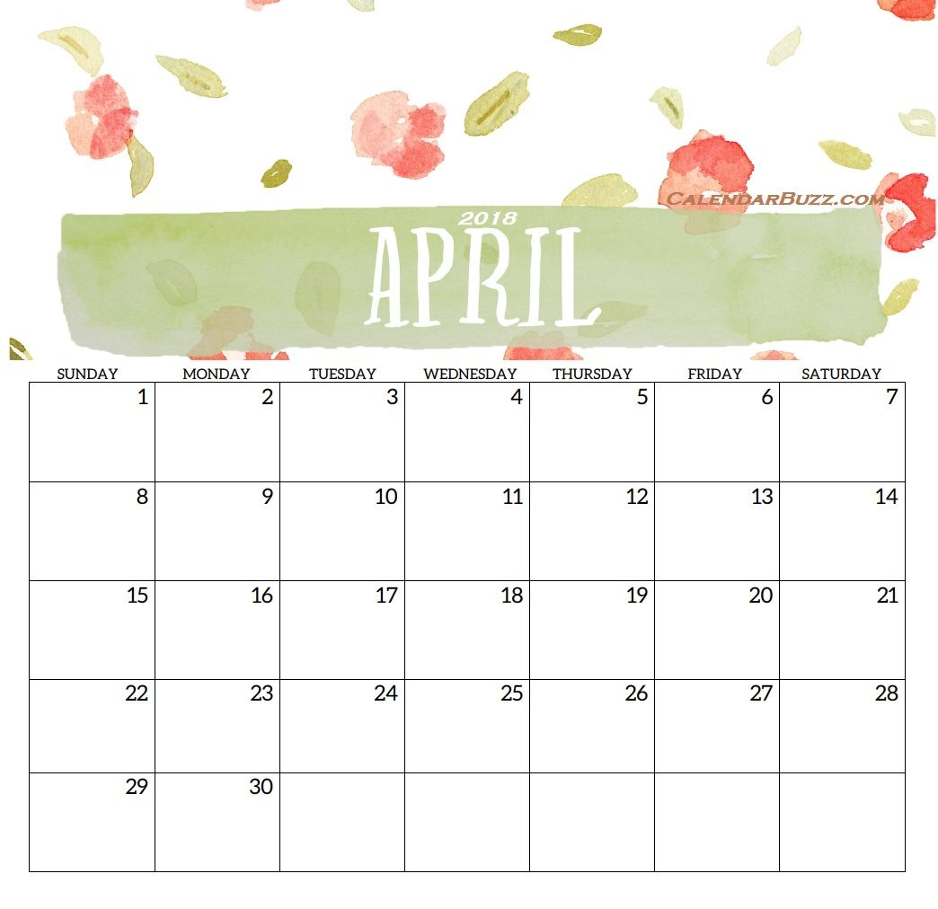 April Desk Calendar Free Printable