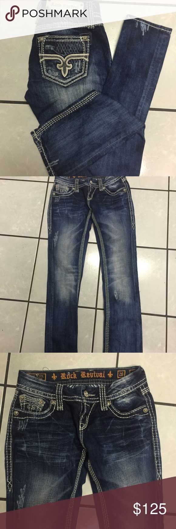 KILLER Rock Revival Ali straight 26 I'm in LOVE with these but they're VERY tts, fit closer to a 25 imo which is SO sad (for me). I'd love to trade for this style in 27. No flaws! Rock Revival Jeans Straight Leg