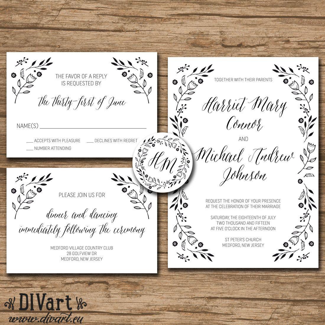 Rustic Wedding Invitation Suite, Response Card, Monogram - PRINTABLE files - garden wedding, rustic wedding, kraft paper, flowers - Harriet by DIVart on Etsy