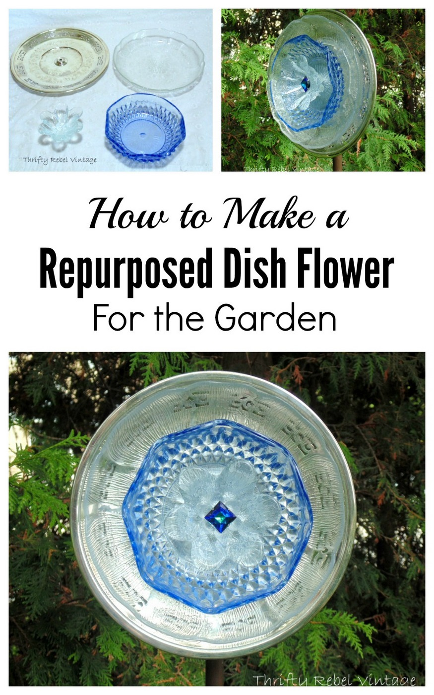 Add some whimsy to your garden by making a garden art dish flower using thrifted and repurposed dishes. #gardenart @plateflower #diyflower #diygardenflower #junkflower #junkgardenart #dishflower