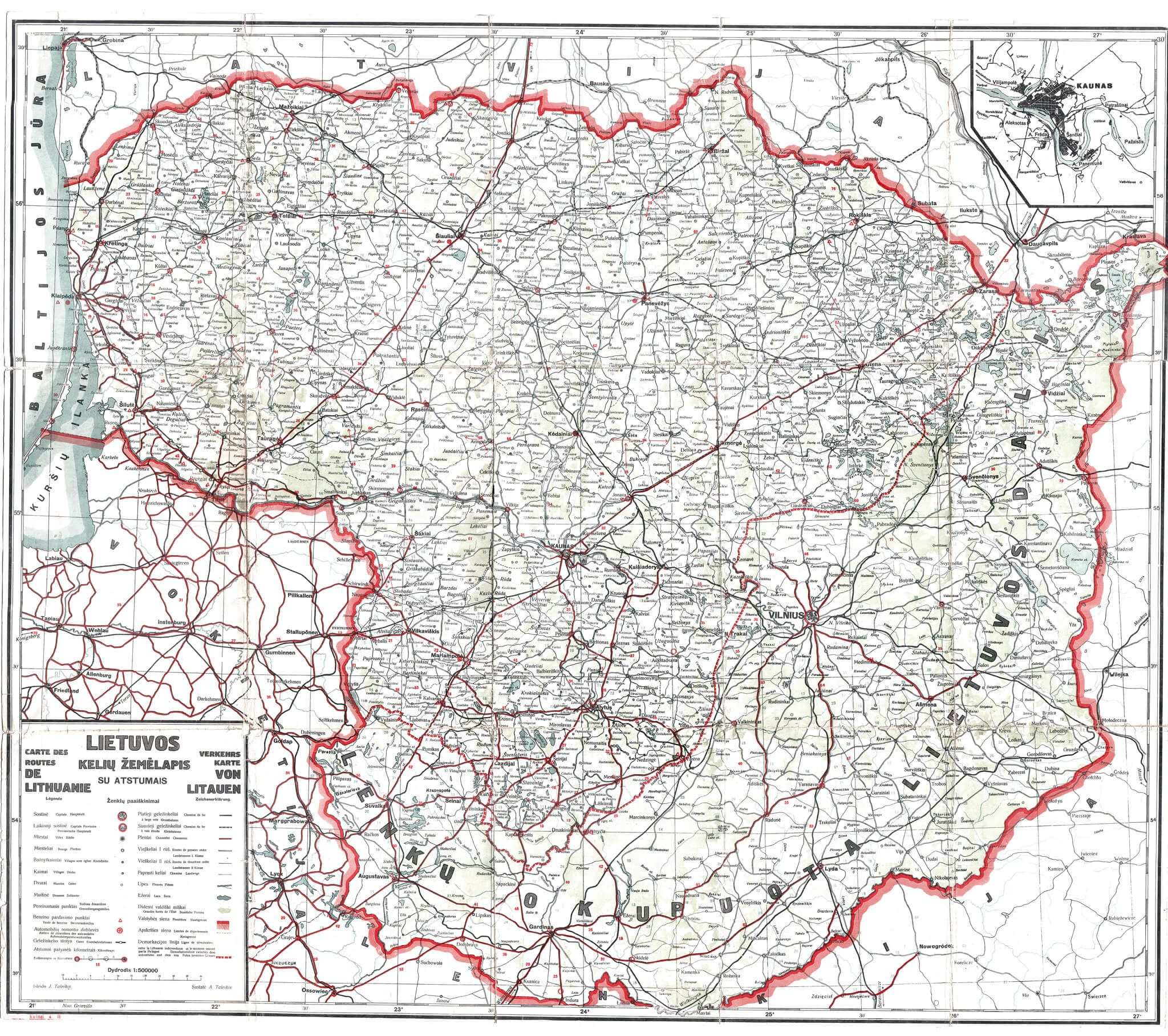 353 5000 Map Of Lithuania With Distances1932 1936 Carte Des Routes De Lithuanie Verkehrs Map Von Litauen Scale 1 500 000 Map Historical Maps Geography Map