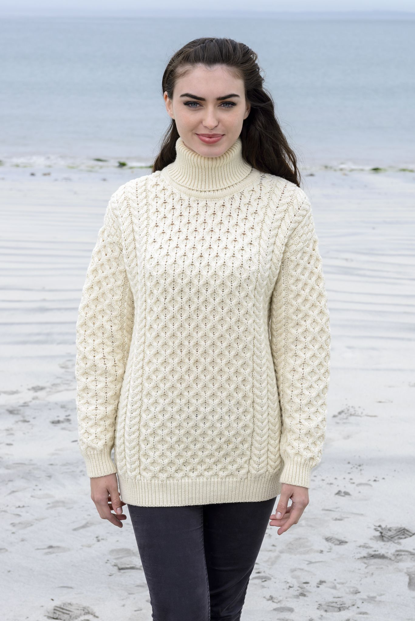 635a3fc5e9 Women s Oversized Honeycomb Turtleneck Sweater This merino wool honeycomb  sweater is a practical yet stylish sweater