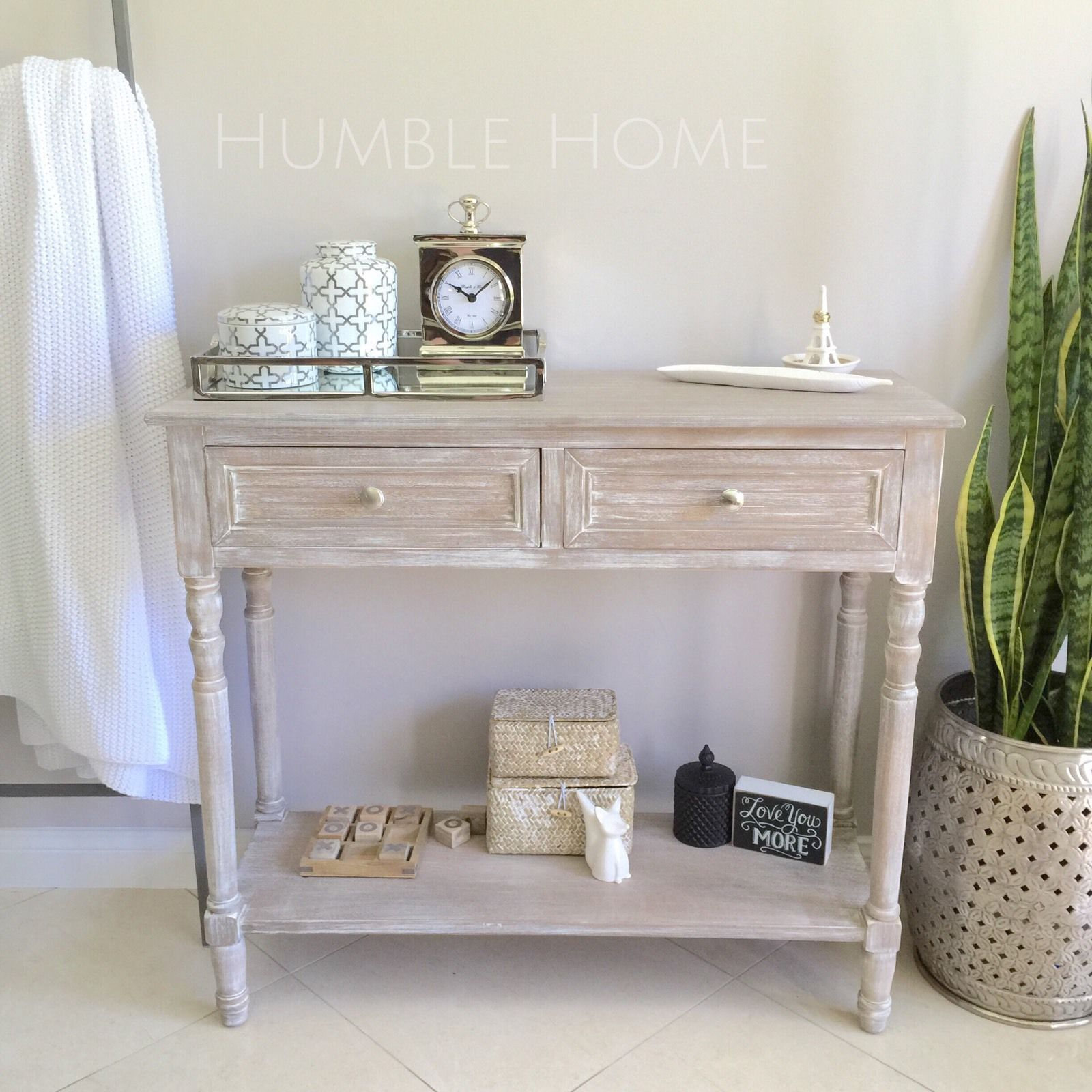 White Wash Console With Two Drawers Hall Table Hampton S Style