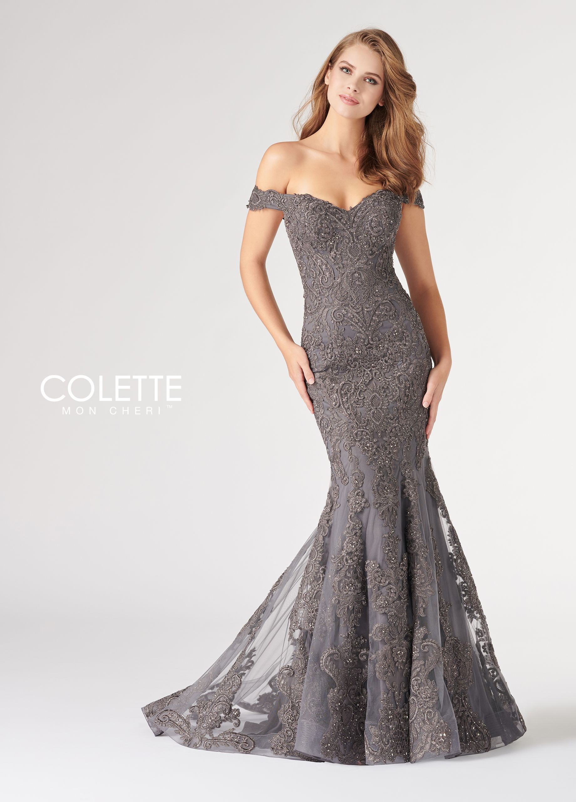 0e2dd69ca2 Colette for Mon Cheri CL19814 - Off-the-shoulder tulle and lace fit and  flare gown with cap sleeve