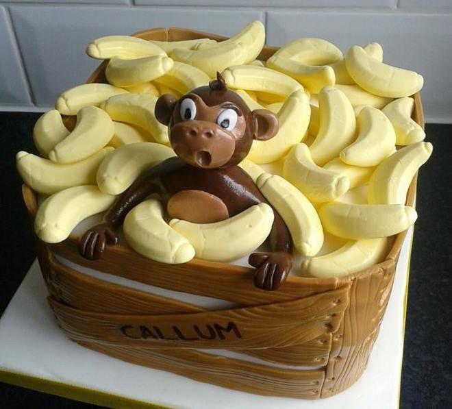 Cheeky Monkey In Banana Crate Cake