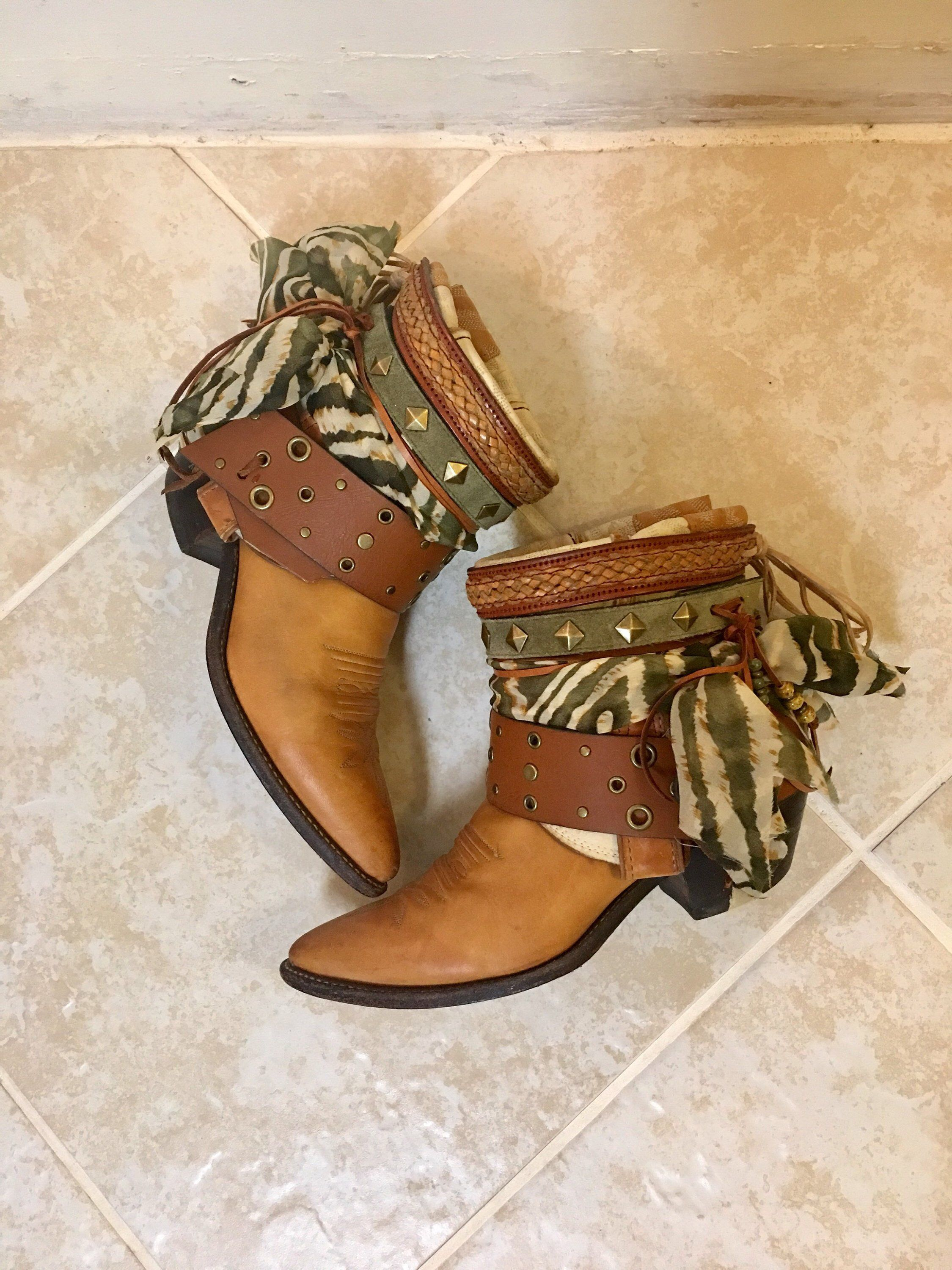 2e7a0b4cbc7 Army Green Animal Print Saddle Tan UPCycled Cowgirl Boots size 7.5 ...