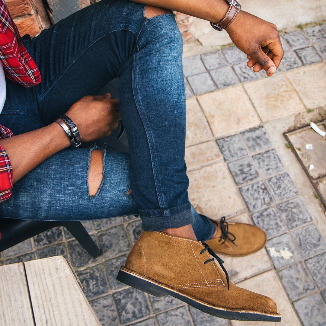 Safari Black Veldskoen Heritage Shoes Blue Ripped Jeans Black Denim Day [ 1080 x 1080 Pixel ]