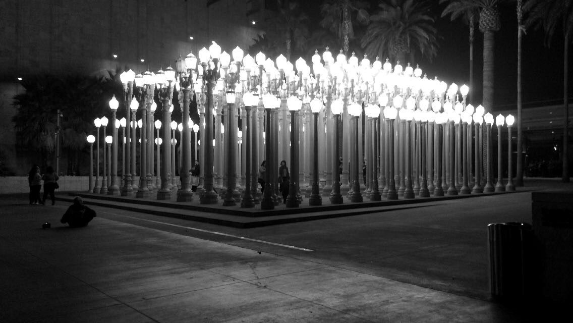 This place is the Urban Lights at LACMA. I went to this place with someone that means a lot to me.