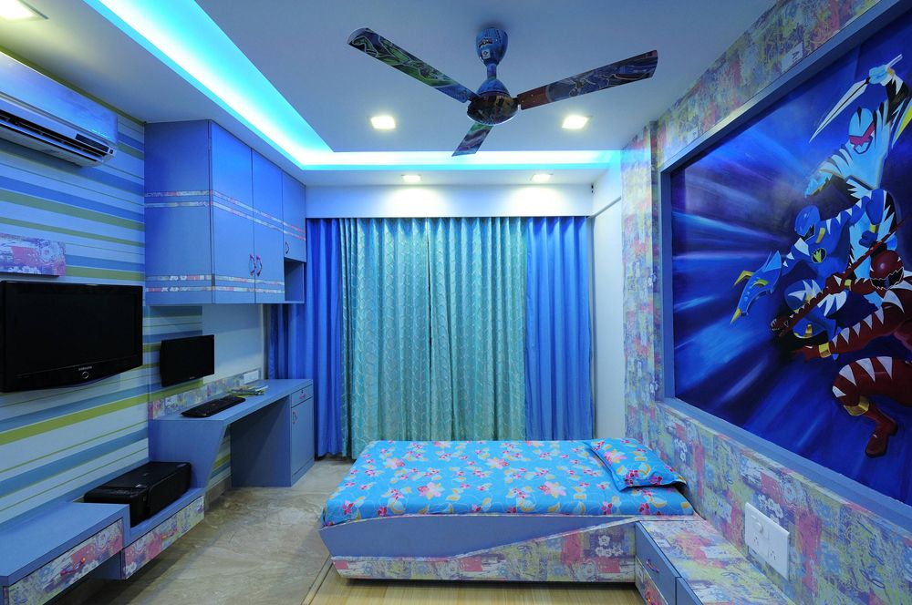 Kid 39 s blue bedroom with wallpaper design by interior for Interior wallpaper designs india
