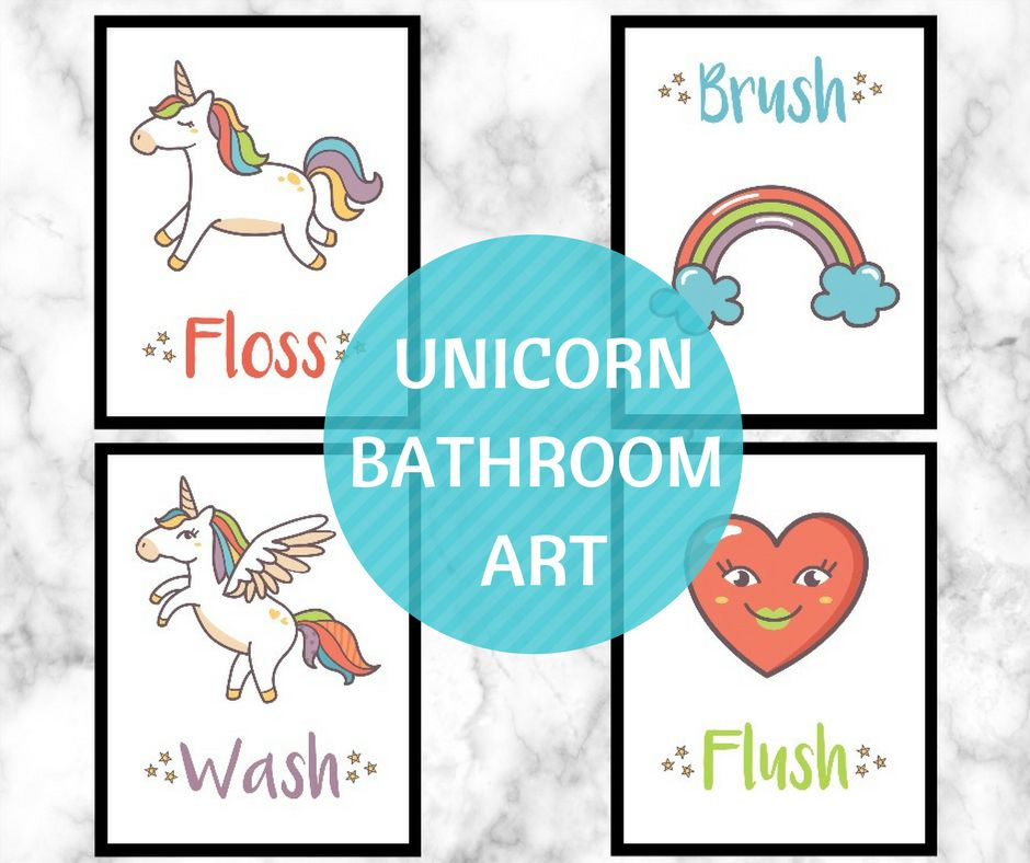 Hello Wonderful Unicorn Bathroom Wall Art Free Printable