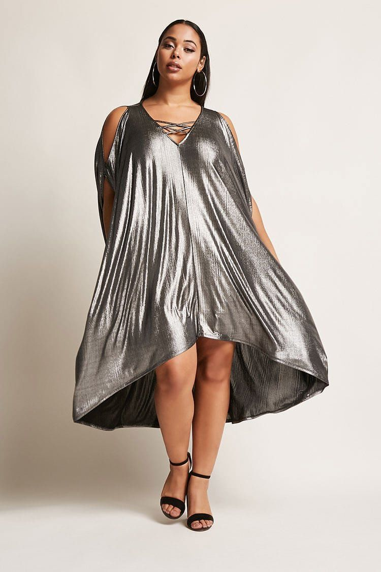 Product Name:Plus Size Metallic Cocoon Dress, Category ...