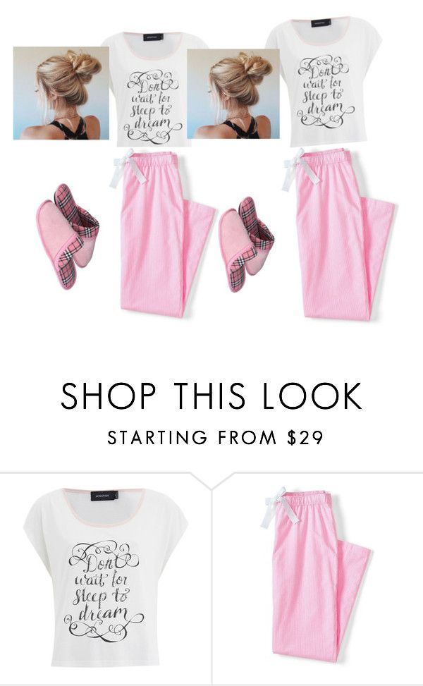 """twins good nigth⭐⭐⭐"" by kekelove123 ❤ liked on Polyvore featuring MINKPINK and Lands' End"