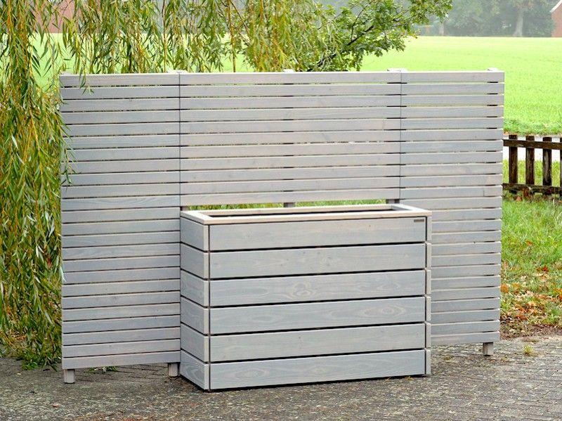Sichtschutz mit Pflanzkasten nach Maß, wetterfestes Holz