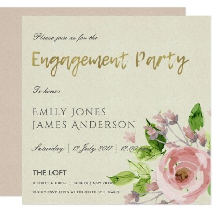 SOFT BLUSH PINK WATERCOLOUR FLORAL ENGAGEMENT CARD - formal speacial - formal invitation style