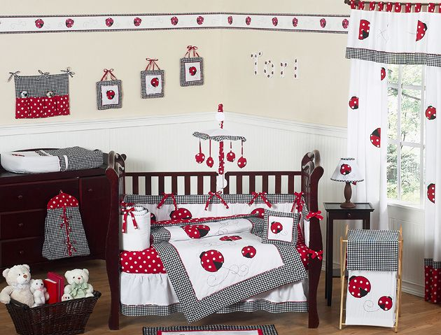 Red White Black Lady Bug Baby Bedding Crib Set For Newborn Girl By
