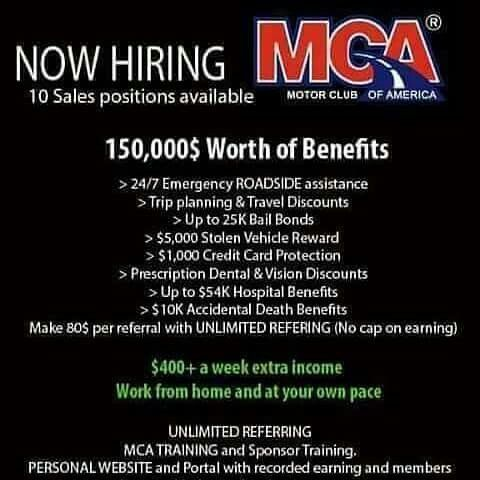 MCA Motor Club of America South America Travel, Work From Home Jobs, How To