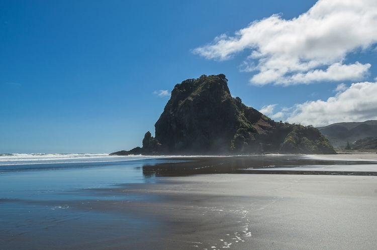 Lion Rock am Piha Beach in der Nähe von Auckland, Neuseeland.