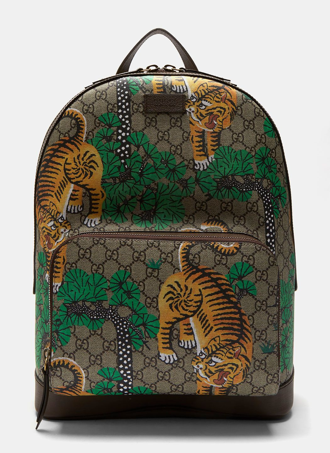 3c6a2fc2917 GUCCI Men S Zaino Bengal Tiger Gg Print Backpack In Brown.  gucci  bags   leather  canvas  backpacks