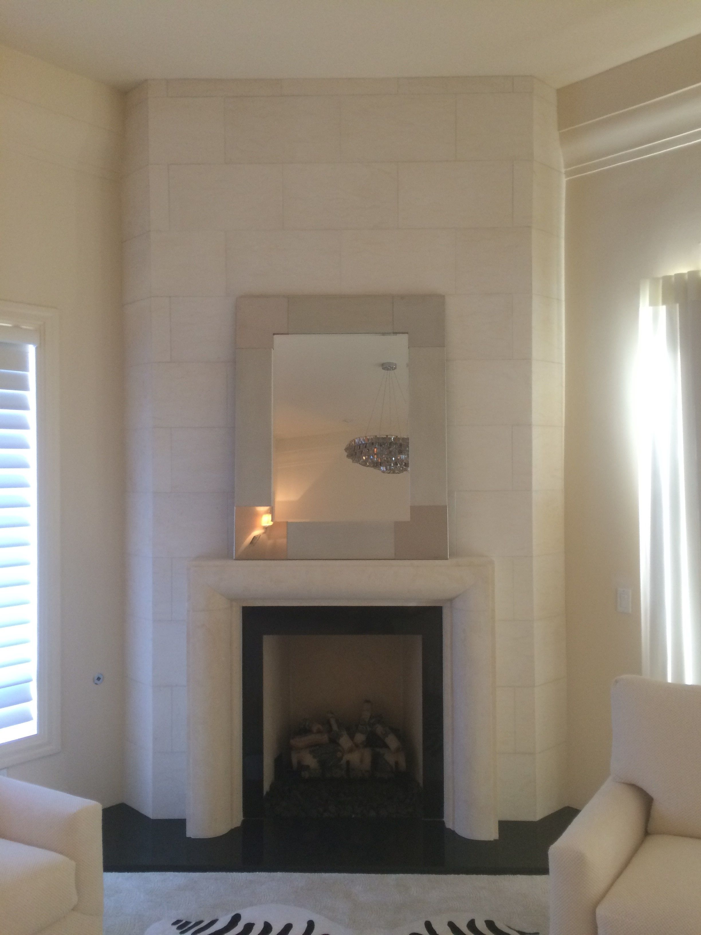 Modern Limestone Fireplace Surround With Over Mantel Fireplace Mantel Surrounds Limestone Fireplace Fireplace
