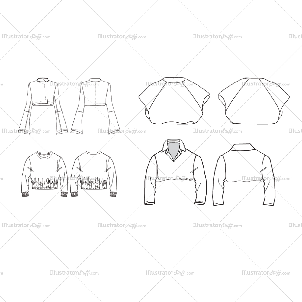 Free Fashion Flat Templates + Trim Pack Fashion flats