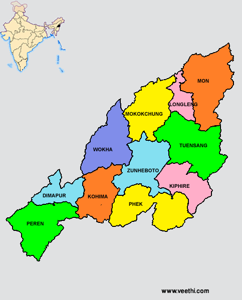 Nagaland Districts Map | Indian States in 2019 | India map