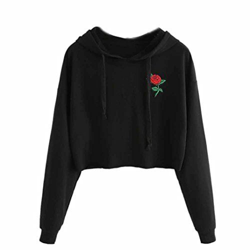 ca72f000646e2 Bonjouree Sweat Court Femme Broderie Rose Sweat-shirt Ado Fille Pull Chic