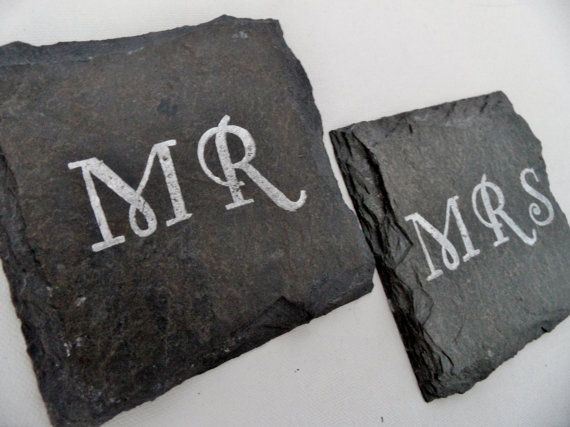 Mr and Mrs Slate Coasters Set of 2 $10.00