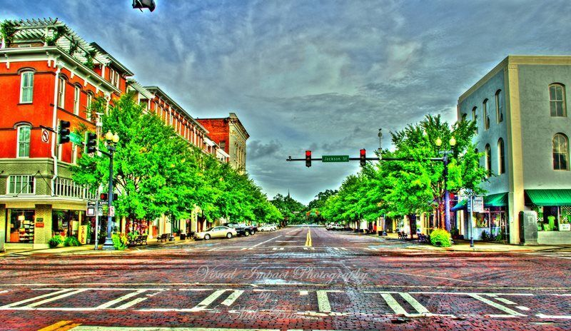 Broad St Looking North in Thomasville Ga. Photography by