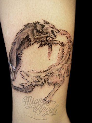 Good Wolf Bad Wolf Tattoo : tattoo, Custom, Wolf,, Fight, Tattoo, Animal, Tattoo,, Design,, Tattoos