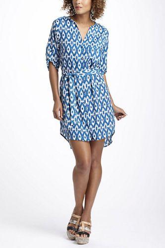 b1208129d0a Maeve Anthropologie Blue Belted  Ikat Frequencies Shirtdress  Dress M