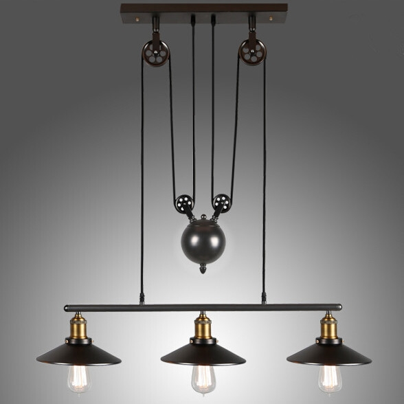 industrial inspired lighting. Great For Industrial Inspired Home Decor Settings, This Adjustable Height Pulldown Pendant Light Is Made Of Sturdy Hand-worked Wrought Iron. Lighting