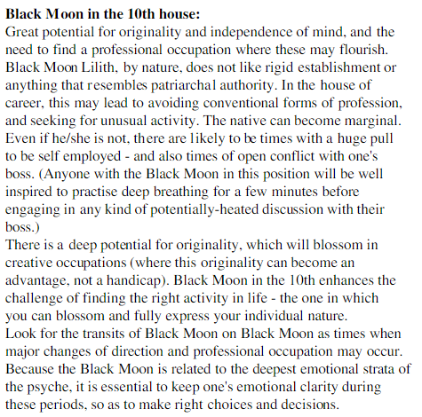 Black Moon Lilith in the 10th house | The Astrology of