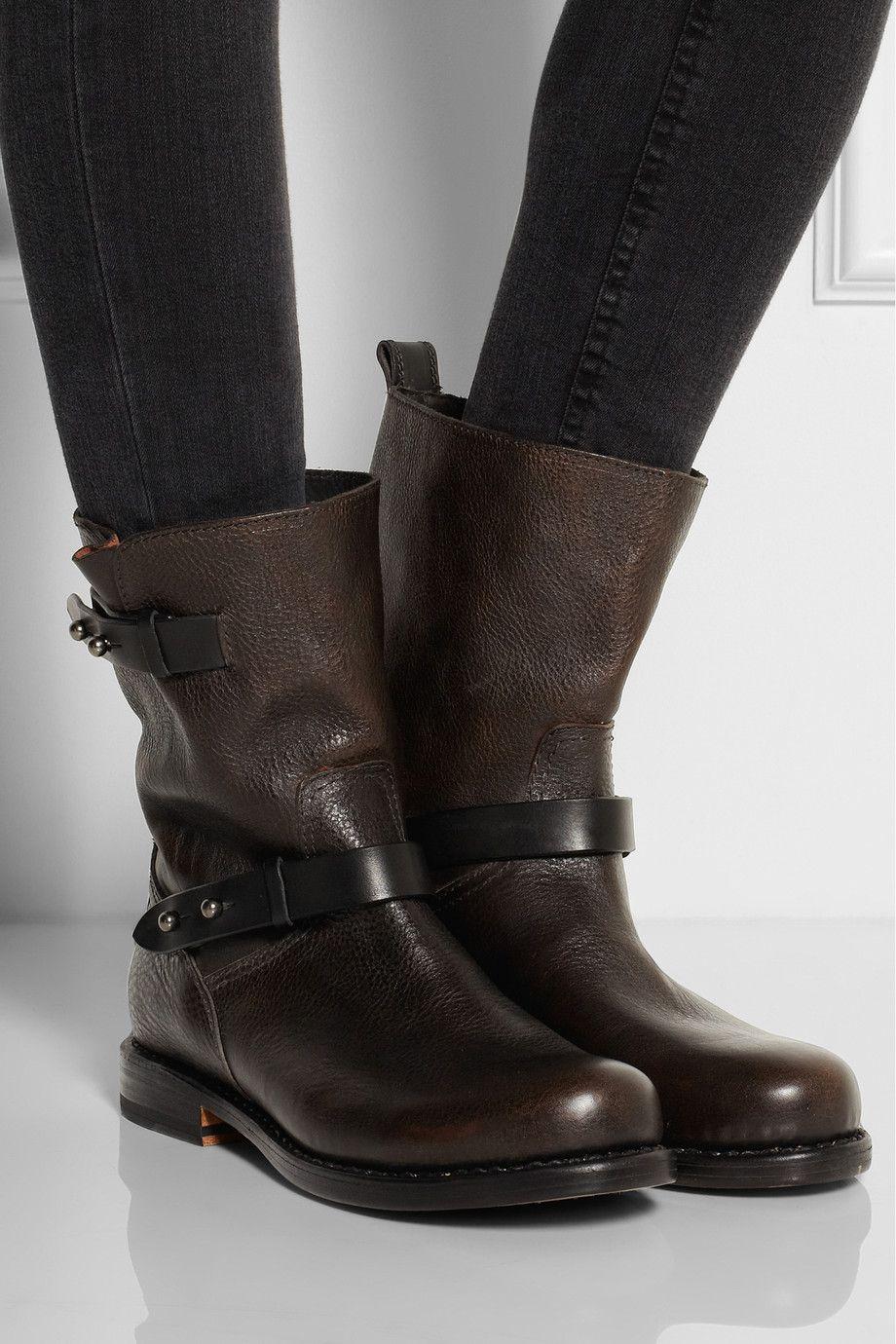 Dark Brown Textured Leather Biker Boots Rag Bone Leather Biker Boots Biker Boots Boots