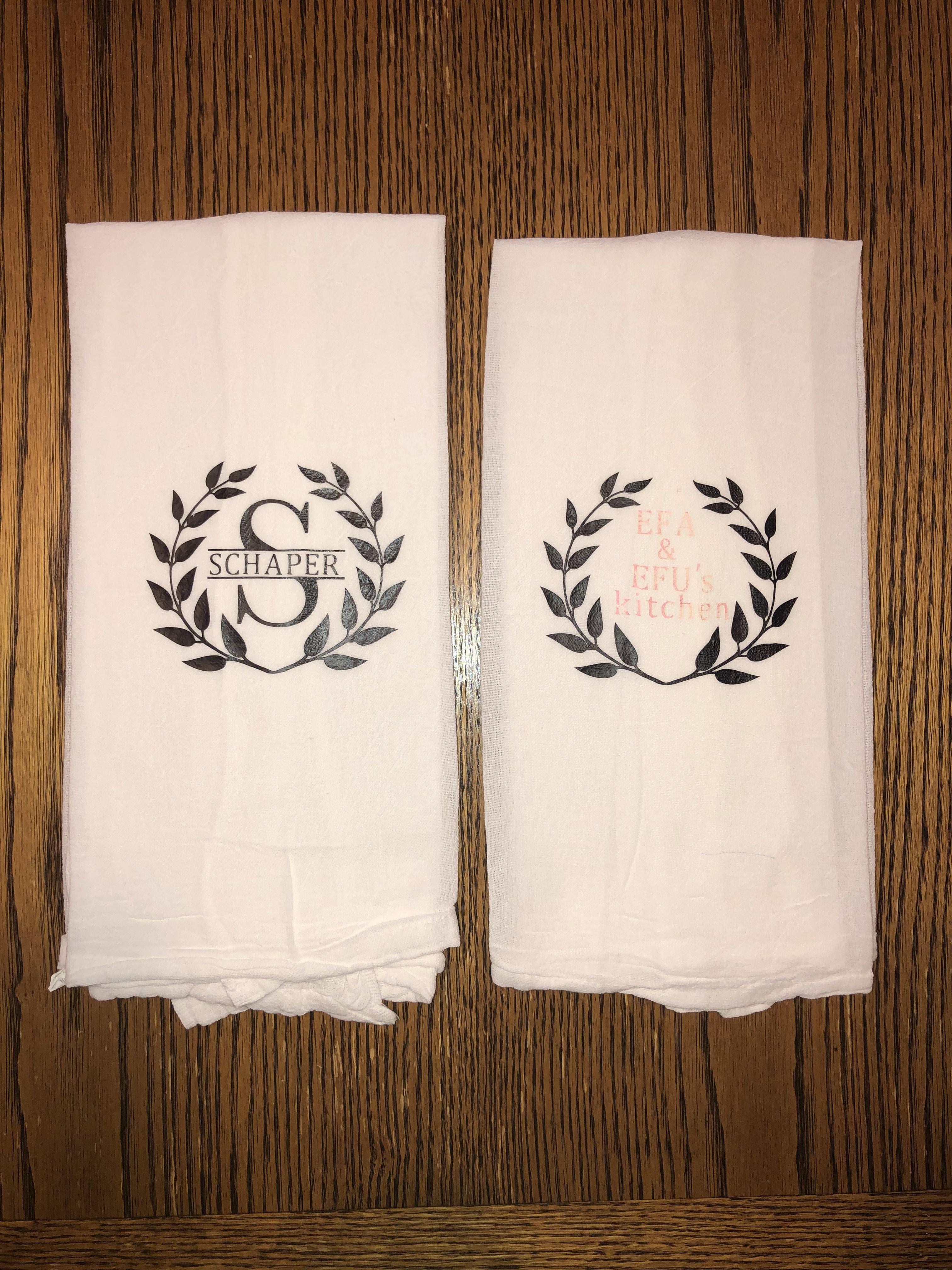 Monogram kitchen towels; Christmas present; family name ...
