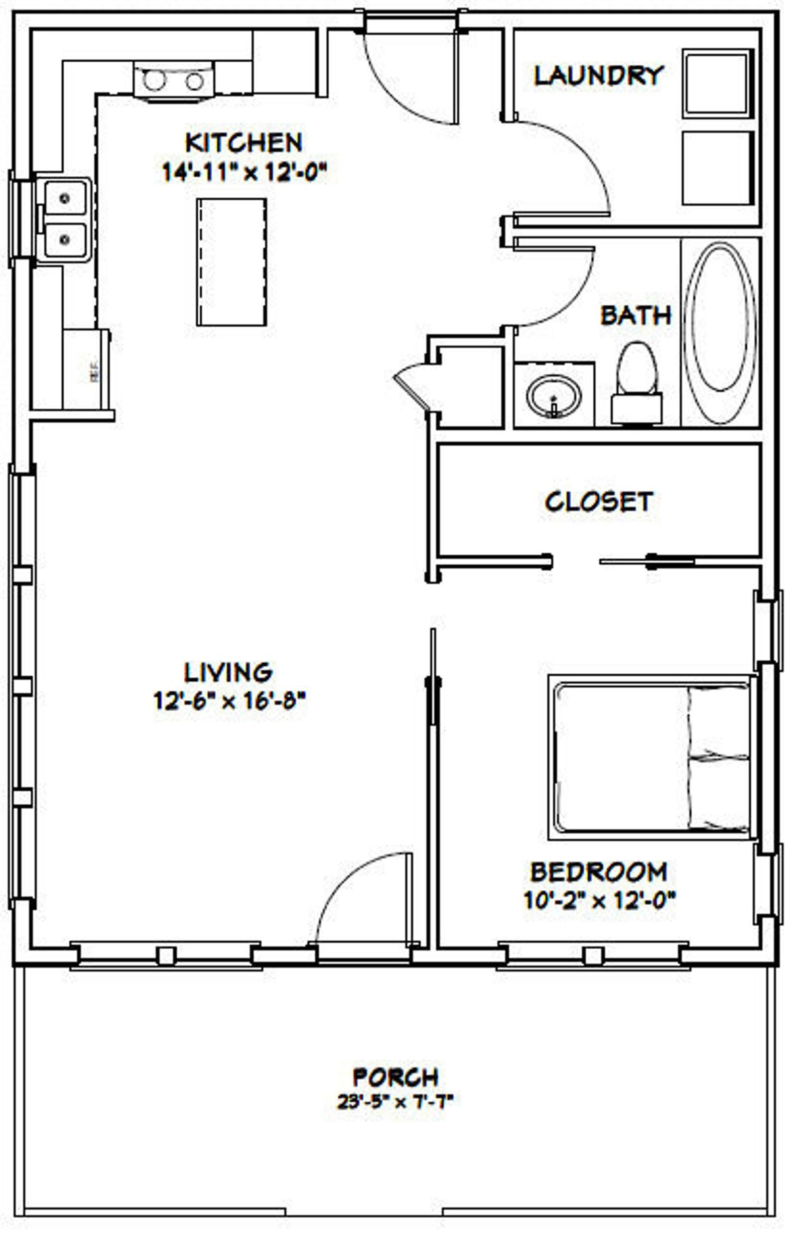24x30 House 1 Bedroom 1 Bath 720 Sq Ft Pdf Floor Plan Etsy 1 Bedroom House Plans Tiny House Plans Tiny House Floor Plans
