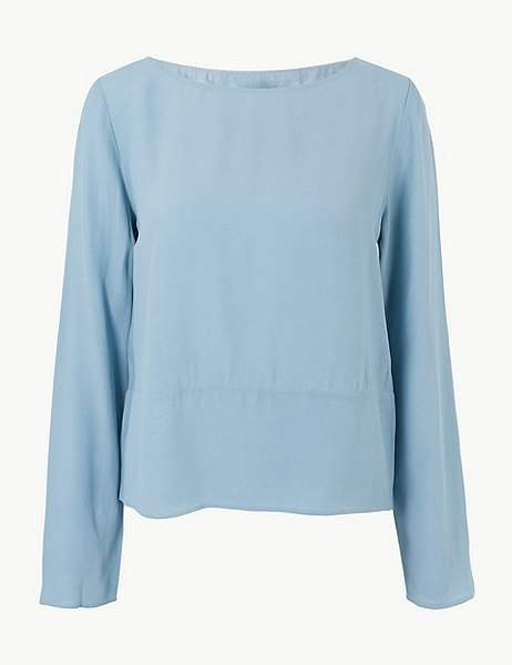 68376827d5214e Marks and Spencer Round Neck Long Sleeve Shell Top   Products in ...