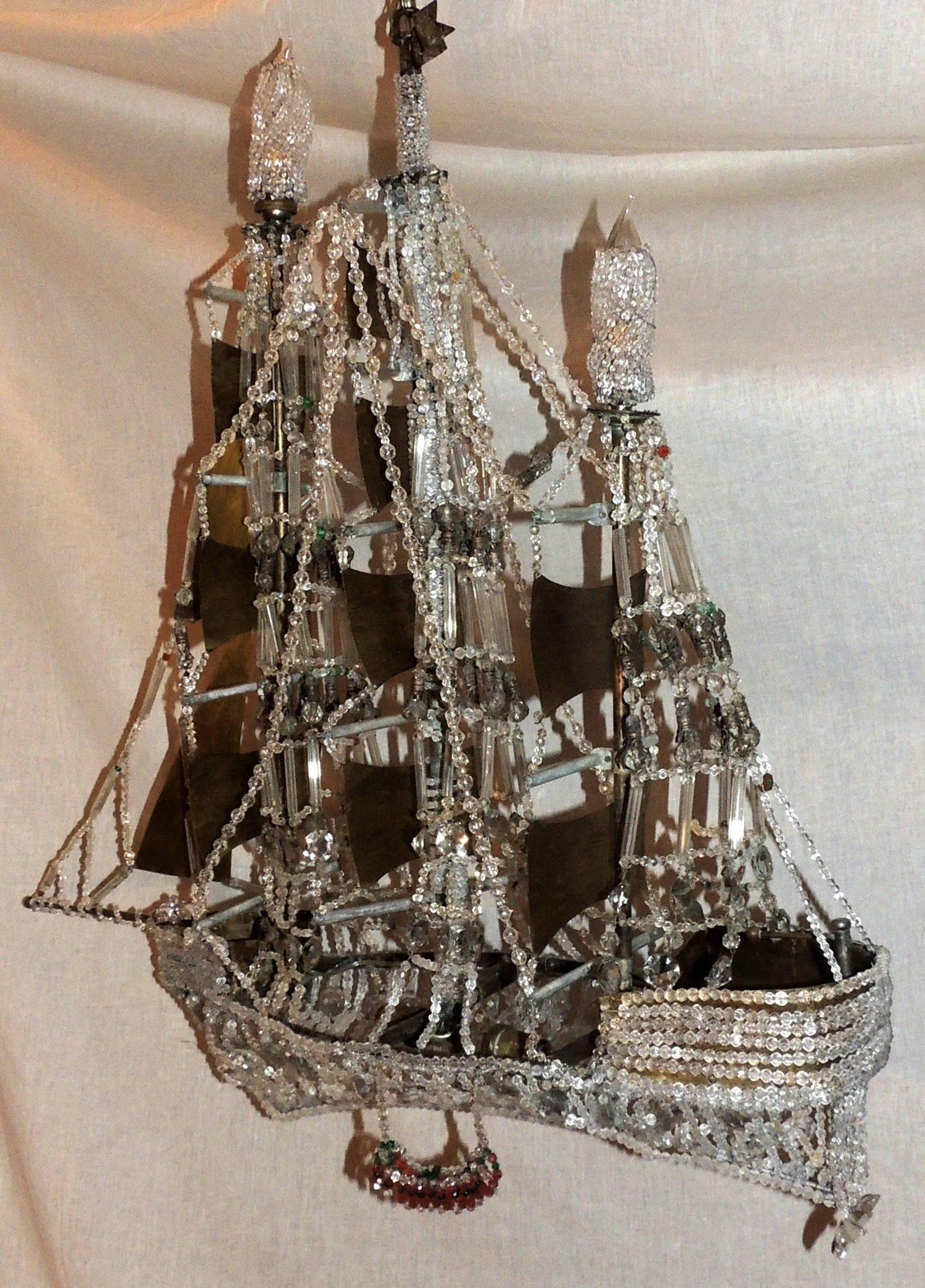 Wonderful Vintage Beaded Crystal Italian Boat Ship Chandelier