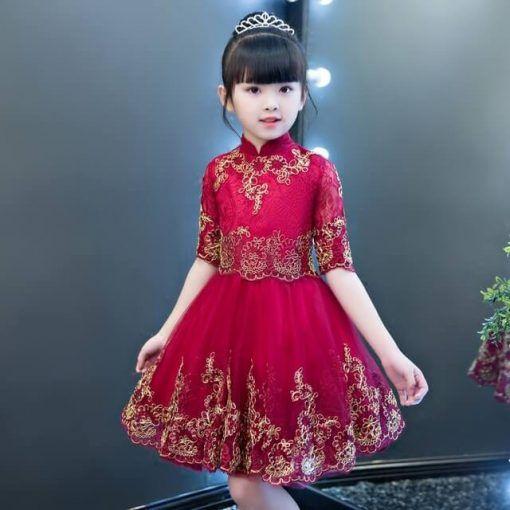 Vestido De Fiesta Para Niña En Color Rojo Vino Con Bordados